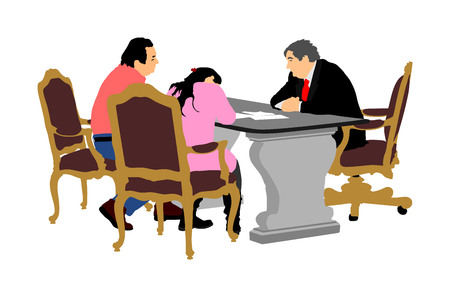 Verheiratetes älteres Paar unterzeichnet den Vertrag mit Bankmanager, Vektorillustration. Unterzeichnung eines Immobilienvertrags. Finanzvertrag für Darlehenskredite. Unterschrift für den Kauf eines neuen Eigenheims. Berufliche Partnerschaft.
