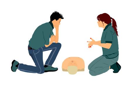 Erste-Hilfe-Demonstration Vektor-Illustration. Der Arzt berät den Auszubildenden über die Rettungstechnik. Patientenpuppe trainieren. CPR-Training für Rettungssanitäter. Medizinische Übung, wie man dem Patienten hilft. Dringlichkeitshilfe. Vektorgrafik