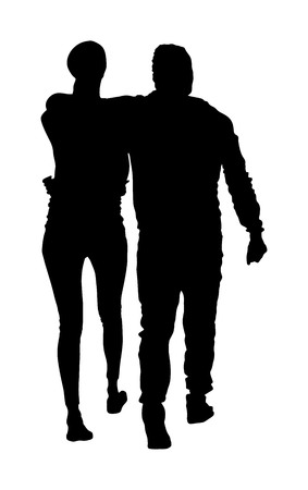 Young hugged couple in love vector silhouette. Happy time for lovers. Hugging people. Boyfriend and girlfriend in hug. Closeness and tenderness on first date. Woman and man stick together. Stock Vector - 123768787