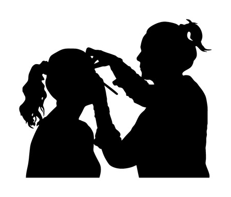 Make up artist. Woman in a beauty spa getting a treatment. Facial treatments at the beauty salon vector silhouette. Cosmetic massage. Face skin care. Spa therapy. Cosmetologist mesotherapy procedure