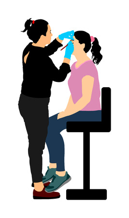 Make up artist. Woman in a beauty spa getting a treatment. Facial treatments at the beauty salon vector illustration. Cosmetic massage. Face skin care. Spa therapy. Cosmetologist mesotherapy procedure