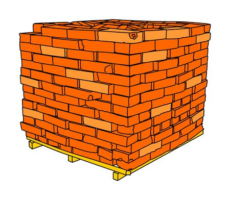 A stack of red clay bricks vector on wooden pallet isolated on a white background.Pile of bricks illustration, red construction bricks.