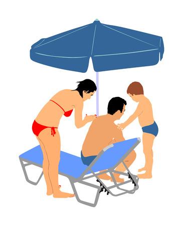 Hautpflege Sonnenschutzfamilie, Mutter und Sohn, die Sonnencreme auf den Schultern und dem Rücken des Vaters auftragen, Vektorgrafik. Hautpflege, Körperpflege. Freizeitaktivitäten auf dem Meer an einem sonnigen Tag. Sonnenliegen Sonnenschirm Paradies. Vektorgrafik