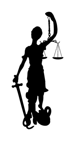 Statue of Justice symbol vector silhouette isolated on white background, legal law.  Justitia the Roman goddess of Justice. Goddess Themis blindfolded  with sword of justice and weights in her hands. Illustration