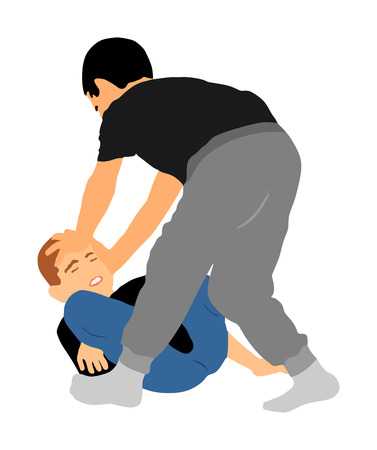 Two boys fighting vector silhouette. Two young brothers fight vector illustration. Angry kid terror. Street hitting and punching after school. Bully abused neighbor kid. Child problematic behavior.