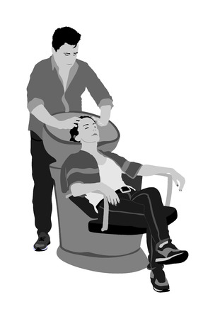 Beautiful young woman washes hair in a beauty salon vector illustration. Hairstylist washing clients hair in hair washing chairs. Hairdresser washing head. Barber washes girl had in barbershop.