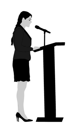Public speaker standing on podium vector illustration isolated on white. Politician woman opening meeting ceremony event. Business woman speaking with public. Talking on microphone. Illustration