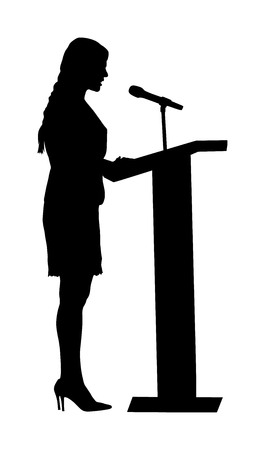 Public speaker standing on podium vector silhouette illustration isolated on white. Politician woman opening meeting ceremony event. Business woman speaking with public. Talking on microphone.