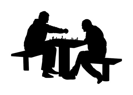 Two seniors man playing chess game outdoor in park vector silhouette. Grandpas friend entertainment. Free time for friendly mature people. Mind recreation board game. Smart move. Retails friendship.