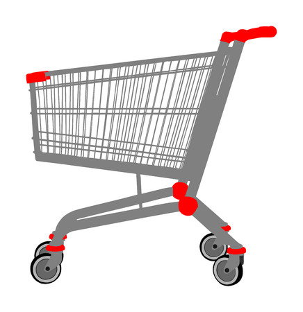 Empty shopping cart vector isolated on white background. Metal market trolley. Stock Vector - 105260437