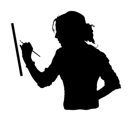 Creative pensive painter paints a  picture, vector silhouette illustration. Painting process in art workshop Creative positive woman painter paints in her studio abstract picture. Passionate artist.