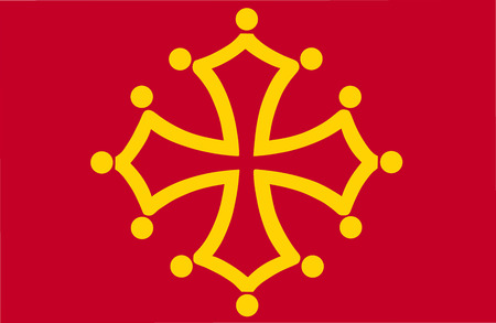 Vector flag of Midi-Pyrenees Region, France. Flag of Languedoc-Roussillon-Midi-Pyrenees.