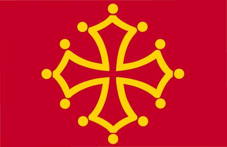 Vector flag of Midi-Pyrenees Region, France. Flag of Languedoc-Roussillon-Midi-Pyrenees. Reklamní fotografie - 105690738