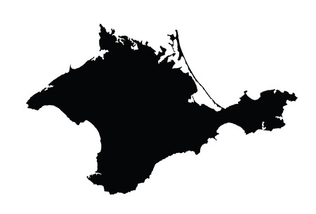 Autonomous Republic of Crimea - vector map, isolated on white background. High detailed silhouette illustration. Russia oblast map illustration. Vector Illustration