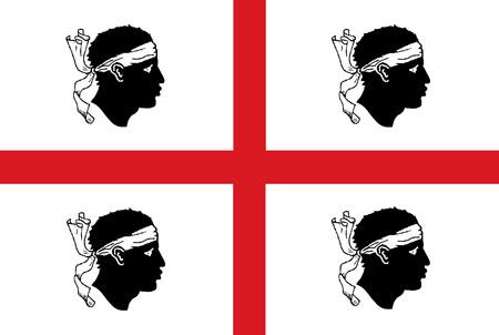 Vector flag of the Italian region Sardinia.   Italy country flag of Sardinia island. Vectores