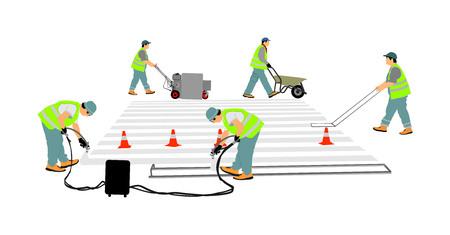 Robotnik budowlany drogi malarstwo przejście dla pieszych znak na wektor ulicy miasta. Techniczni robotnicy drogowi malujący i zauważający linie przejść dla pieszych na powierzchni asfaltu za pomocą pistoletu do malowania. Ilustracje wektorowe