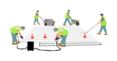 Road construction worker painting zebra crossing sign on city street vector. Technical road man workers painting and remarking pedestrian crossing lines on asphalt surface using paint sprayer gun. Illustration
