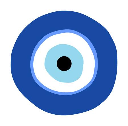 Vecteur de mauvais œil grec, symbole de protection. Oeil turc en verre Nazar Boncugu. Amulette, talisman du mauvais œil.