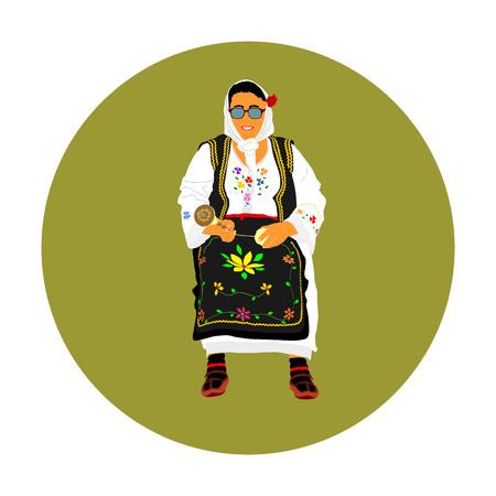 Donna in abito tradizionale serbo illustrazione vettoriale isolato. La Serbia indossa, illustrazione della cultura folcloristica balcanica. Lavoro a maglia da un filo. Knit hobby. Abito nazionale bulgaro. Folkl russo o polacco Vettoriali