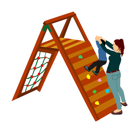 Mother playing with son at playground climber toy in entertainment park vector illustration. Outdoor activity, kid play fun. Child climber. Enjoying after school. Active boy. Happy family outdoor.