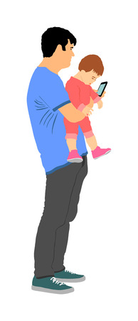 Awkward clumsy father with baby in hand watching in phone vector illustration. Gawky unhandy young parent with child. Irresponsible confused man with toddler. Imprudent unthinking father carrying baby