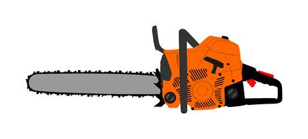Ilustración de vector de motosierra aislado sobre fondo blanco. Equipo de trabajo industrial duro para hombre fuerte. Máquina profesional.