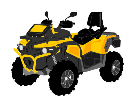 Quad bike vector illustration isolated on white background. Quadricycle, quadbike off road vehicle. ATV road adventure. All terrain vehicle.