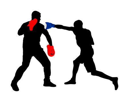 Trainer and boxer vector silhouette illustration isolated on white background. Sparring partner martial arts. Direct kick. Clinch, knockout, hook, uppercut. Coach teaches young fighter mma in ring. Çizim
