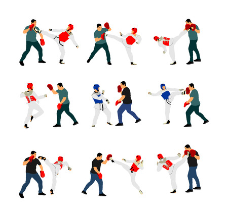 Trainer and taekwondo fighter vector illustration isolated on white. Sparring partner martial arts. Direct kick. Clinch, knockout, hook, uppercut. Coach teaches fighter on training. Self defense.