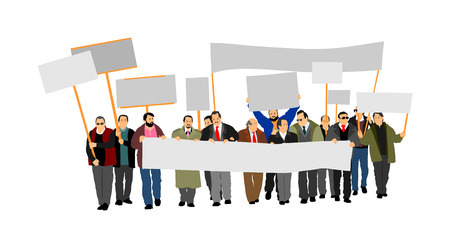 Group of protester vector illustration. Hand holding sign. Man hand. Empty flag editable plate isolated. Blank protest sign. Political agitation campaign. Demonstration for social laborers rights . Фото со стока - 106227864