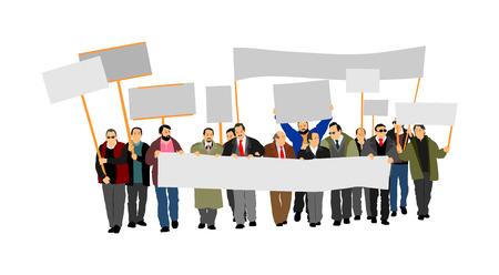 Gruppo di illustrazione vettoriale manifestante. Segno della holding della mano. Mano dell'uomo. Piatto modificabile bandiera vuota isolato. Segno di protesta in bianco. Campagna di agitazione politica. Dimostrazione per i diritti dei lavoratori sociali. Vettoriali