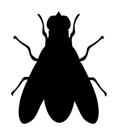 Mucha ikona sylwetka wektor ilustracja na białym tle. Owad mucha domowa.