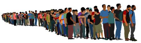 흰색 배경에 고립 된 라인 벡터에서 기다리는 사람들의 그룹입니다. 난민 그룹, 유럽의 이주 위기. 솅겐 지역을 통과하는 터키 전쟁 이주 파도. EU의 국경 상황.