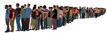 Group of people waiting in line vector isolated on white background. Group of refugees, migration crisis in Europe. Turkey war migration waves going to Schengen Area. Border situation in EU, or Mexico Иллюстрация