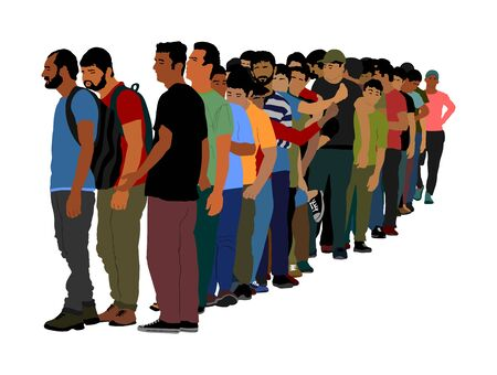 Group of people waiting in line vector isolated on white background. Group of refugees, migration crisis in Europe. Turkey war migration waves going to Schengen Area. Border situation in EU, or Mexico Illustration
