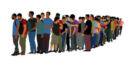 Groep mensen wachten in lijn vector geïsoleerd op een witte achtergrond. Groep vluchtelingen, migratiecrisis in Europa. De oorlogsmigratiegolven van Turkije gaan naar het Schengengebied. Grenssituatie in EU of Mexico