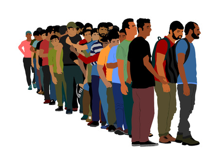 Group of people waiting in line vector isolated on white background. Group of refugees, migration crisis in Europe. Turkey war migration waves going to Schengen Area. Border situation in EU, or Mexico Çizim