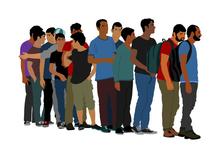 Group of people waiting in line vector isolated on white background. Group of refugees, migration crisis in Europe. Turkey war migration waves going to Schengen Area. Border situation in EU, or Mexico Stock Vector - 123768815