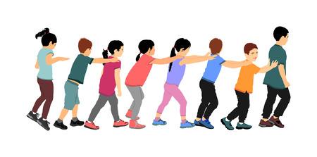 Des enfants heureux jouent à l'illustration vectorielle de jeu de train isolée sur fond blanc. Un groupe d'adolescents qui courent dans le parc, enfants, garçons et filles, joue à un jeu de train en tenant l'épaule de l'enfant devant. Vecteurs