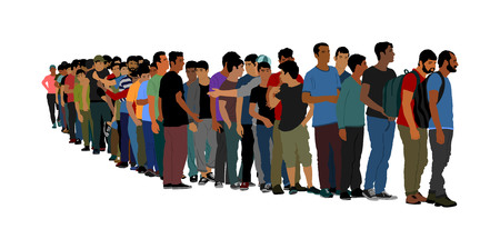 Group of people waiting in line vector isolated on white background. Group of refugees, migration crisis in Europe. Turkey war migration waves going to Schengen Area. Border situation in EU, or Mexico Vettoriali