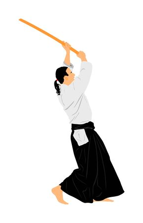 Aikido fighter vector silhouette illustration. Training action. Self defense, defence art excercising concept. Aicido instructor demonstrate skill with katana. Ilustração