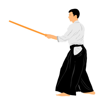 Aikido fighter vector illustration. Training action. Self defense, defence art excercising concept. Aikido instructor demonstrate skill with katana. Traditional warriors skills from Asia. Kendo fight.