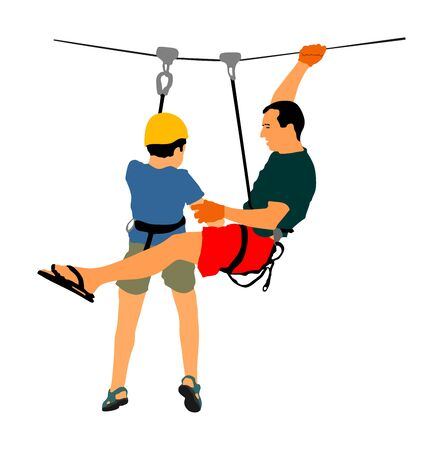 Extreme sportsman took down with rope. Man climbing vector illustration, isolated. Sport weekend zipline action in adventure park. Ropeway for fun, team building. Rescue mission. Instructor helps boy.