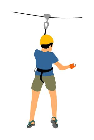 Extreme sportsman took down with rope. Boy climbing vector illustration, isolated on white. Sport weekend zip line action in adventure park rope ladder. Rope way for fun, team building. Rescue mission