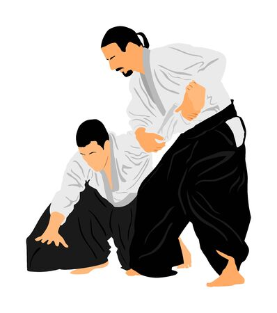 Fight between two aikido fighters vector symbol illustration. Sparring on training action. Self defense, art exercise concept. Karate and aikido fighters. Traditional warriors skills.