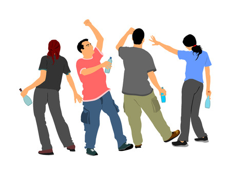 Drunk persons with alcohol bottles vector. Crew on party listening music. Friends celebrating birthday. Teenagers night life. Social problem drugs addict. Risk behavior in public. Bad example for kids