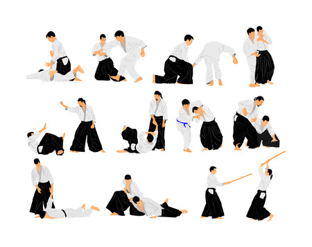 Fight between two aikido fighters vector symbol illustration. Sparring on training action. Self defense, defence art excercising concept. Karate and aikido fighters. Traditional warriors skills. Vektorové ilustrace