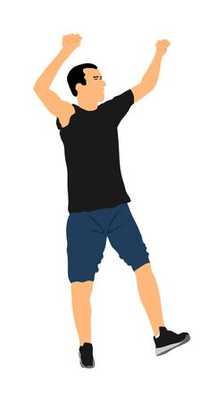 Party dancer handsome boy vector illustration. Nightlife party dancing concept. Disco club event. Birthday celebration. Teenager in good mood. Fun  entertainment. Young man music enjoying. Dj clubbing