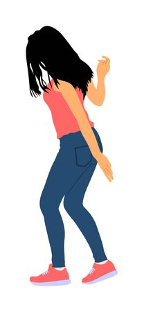 Party dancer handsome girl vector illustration. Nightlife party dancing. Disco club event. Birthday celebration. Teenager in good mood. Fun  entertainment. Young woman enjoying in music. DJ clubbing.