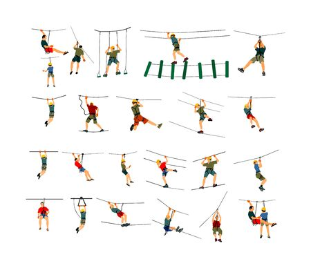 Extreme sportsman took down with rope. Man climbing vector illustration, zip line, isolated on white background. Sport weekend action in adventure park rope ladder. Rope way for fun, team building.